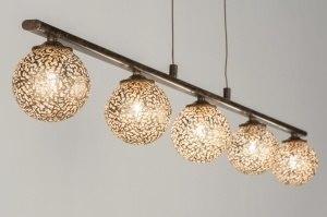 hanglamp 11485 klassiek eigentijds klassiek brons roestbrons metaal goud brons bruin langwerpig