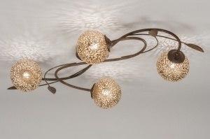 plafondlamp 11488 klassiek eigentijds klassiek brons roestbrons metaal brons langwerpig