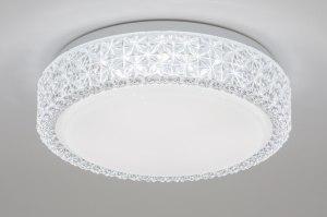 plafondlamp 11504 kristal acryl kristal kunststof acrylaat kunststofglas wit rond