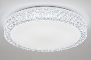 plafondlamp 11505 kristal acryl kristal kunststof acrylaat kunststofglas wit rond