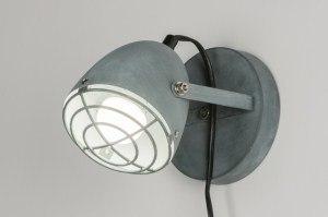 tafellamp 11513 modern retro industrie look stoer raw betongrijs metaal