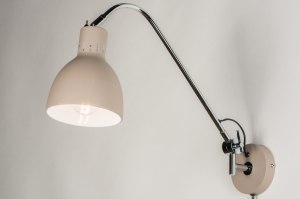 wandlamp 11540 modern retro beige chroom creme roze taupe metaal