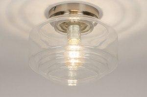 plafondlamp 11545 landelijk rustiek retro klassiek eigentijds klassiek glas wit opaalglas helder glas transparant kleurloos