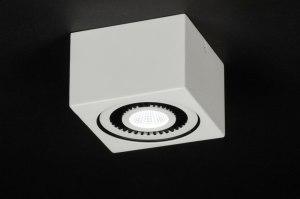 plafondlamp 11568 modern landelijk rustiek design wit mat aluminium vierkant