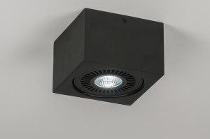 plafondlamp 11569 modern design stoer raw zwart mat aluminium vierkant
