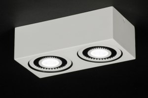 plafondlamp 11570 modern landelijk rustiek design wit mat aluminium rechthoekig