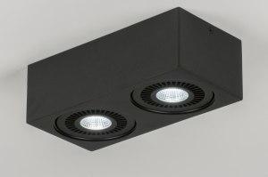 spot 11571 design landelijk rustiek modern aluminium zwart mat rechthoekig