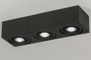 plafondlamp 11573 modern design stoer raw zwart mat aluminium langwerpig