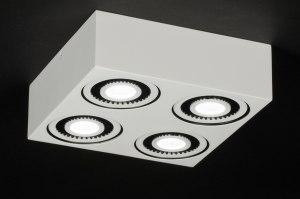 plafondlamp 11574 modern landelijk rustiek design wit mat aluminium vierkant