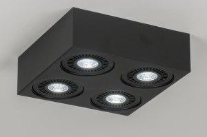 plafondlamp 11575 modern design stoer raw zwart mat aluminium vierkant