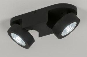 spot 11578 design modern stoer raw aluminium zwart mat ovaal