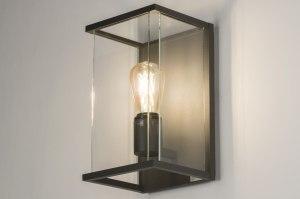 buitenlamp 11600 modern eigentijds klassiek landelijk rustiek zwart glas helder glas langwerpig