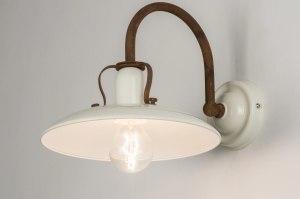 wandlamp 11601 landelijk rustiek eigentijds klassiek metaal wit glans roest bruin brons
