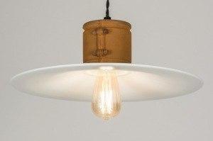 hanglamp 11602 modern eigentijds klassiek landelijk rustiek stoer raw brons roest bruin wit metaal