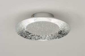 plafondlamp 11607 modern eigentijds klassiek metaal zilver  oud zilver rond