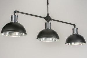 hanglamp 11618 industrie look modern stoer raw aluminium zwart mat antraciet donkergrijs langwerpig