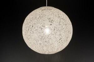 hanglamp 11669 landelijk rustiek modern retro wit creme rond