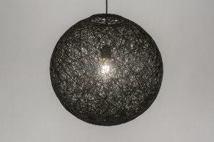 hanglamp 11672 landelijk rustiek modern retro kunststof zwart rond
