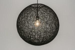 hanglamp 11673 landelijk rustiek modern retro zwart rond