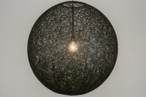 hanglamp 11674 landelijk rustiek modern retro zwart rond