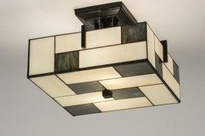 plafondlamp 11679 landelijk rustiek eigentijds klassiek art deco glas zwart mat wit mat grijs beige vierkant