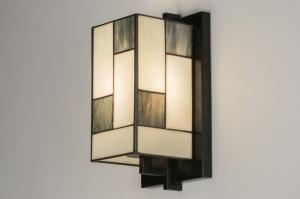wandlamp 11680 landelijk rustiek klassiek eigentijds klassiek art deco glas zwart mat wit mat beige langwerpig