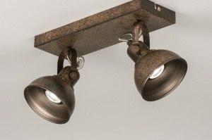 plafondlamp 11689 landelijk rustiek modern eigentijds klassiek metaal roest bruin brons bruin rechthoekig