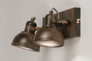 plafondlamp 11689 modern eigentijds klassiek landelijk rustiek bruin roest bruin brons metaal rechthoekig