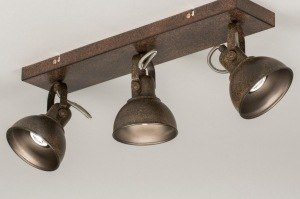 plafondlamp 11690 modern eigentijds klassiek landelijk rustiek bruin roest bruin brons metaal rechthoekig