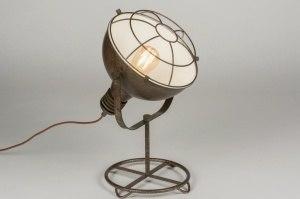 tafellamp 11693 modern industrie look roest bruin brons metaal