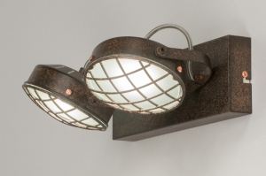 plafondlamp 11695 industrie look modern stoer raw metaal roest bruin brons bruin