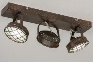 plafondlamp 11696 industrie look modern stoer raw metaal roest bruin brons bruin rond langwerpig rechthoekig