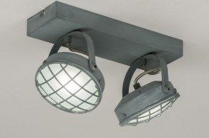 plafondlamp 11699 industrie look modern stoer raw metaal betongrijs