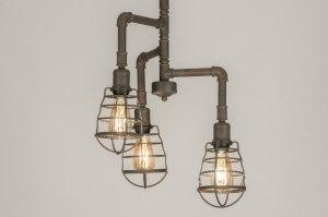 hanglamp 11738 industrie look modern stoer raw metaal roest bruin brons bruin