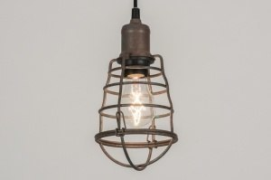 hanglamp 11739 industrie look modern stoer raw metaal roest bruin brons bruin