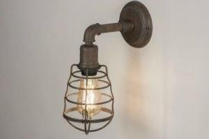 wandlamp 11740 sale industrie look landelijk rustiek modern stoer raw metaal roest bruin brons bruin