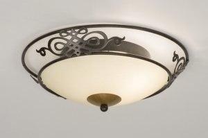 plafondlamp 11746 landelijk rustiek klassiek eigentijds klassiek glas mat glas metaal roest bruin brons rond