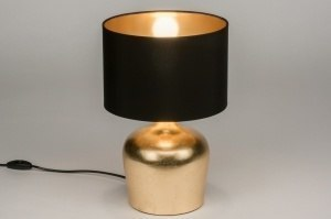 tafellamp 11750 modern eigentijds klassiek stof zwart goud