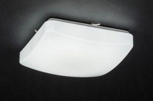 plafondlamp 11755 modern eigentijds klassiek wit kunststof vierkant