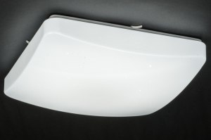 plafondlamp 11756 modern eigentijds klassiek wit kunststof vierkant