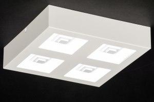 plafondlamp 11762 modern wit mat kunststof metaal vierkant