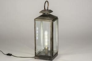 tafellamp 11800 landelijk rustiek stoer raw metaal zilver  oud zilver oldmetal (gunmetal) rechthoekig