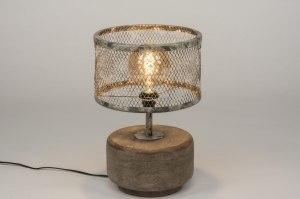 tafellamp 11801 landelijk rustiek stoer raw bruin grijs hout taupe hout metaal rond
