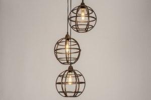 hanglamp 11803 industrie look landelijk rustiek modern stoer raw aluminium metaal roest bruin brons bruin koper roodkoper rond