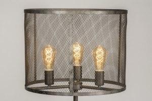vloerlamp 11805 modern eigentijds klassiek landelijk rustiek industrie look stoer raw oldmetal (gunmetal) zilver  oud zilver metaal rond