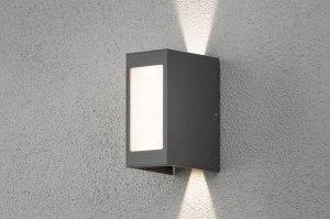 wandlamp 11816 modern antraciet donkergrijs aluminium metaal rechthoekig