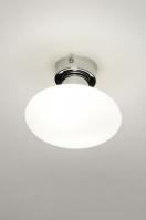 plafondlamp 11822 modern retro glas wit opaalglas wit mat chroom rond
