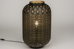 tafellamp 11863 landelijk rustiek modern eigentijds klassiek metaal zwart mat goud