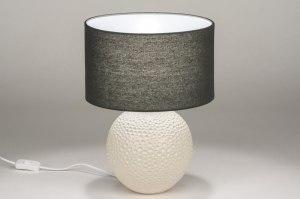 tafellamp 11866 sale landelijk rustiek modern eigentijds klassiek stof keramiek zwart mat antraciet donkergrijs beige