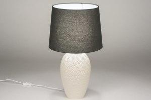 tafellamp 11867 sale landelijk rustiek modern eigentijds klassiek stof keramiek zwart mat antraciet donkergrijs beige
